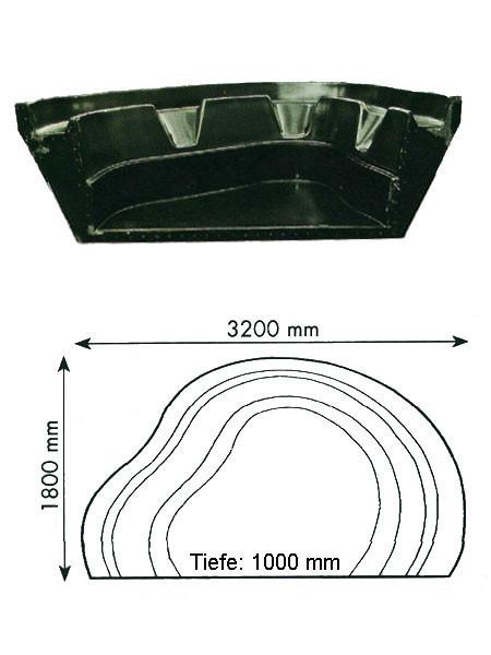 Teich-Element 'Koi 1000 - Kopfteil' (GFK) (Art.Nr. KRU16010)