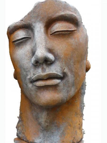 Betonbüste - Gesicht 'Mann' mit Rosteffekt - Skulptur - XXL-Produkt