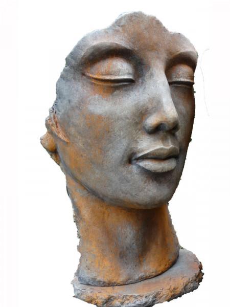 Betonbüste - Gesicht 'Frau' mit Rosteffekt - Skulptur - XXL-Produkt