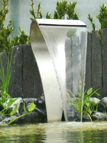 Teichwasserfall aus edelstahl der gartenteich for Gartenteich edelstahl