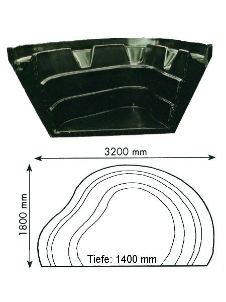 Teich-Element 'Koi 1400 - Kopfteil' (GFK) (Art.Nr. KRU16014)